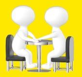 3d caractère, homme, se reposer de deux caractères opposé sur une table Photos libres de droits