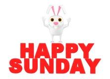 3d caractère, lapin, dimanche heureux illustration de vecteur