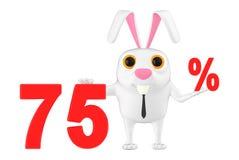 3d caractère, lapin montrant un texte de 75 pourcentages illustration libre de droits