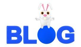 3d carattere, coniglio che si siede sopra il testo del blog royalty illustrazione gratis