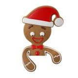 3d carattere, pan di zenzero allegro, decorazione divertente di Natale, royalty illustrazione gratis