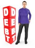 3d carattere, preoccupazione della donna, gridante stare vicino ad un testo di debito in blocchetti del cubo illustrazione di stock