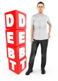 3d carattere, preoccupazione della donna, gridante stare vicino ad un testo di debito in blocchetti del cubo illustrazione vettoriale