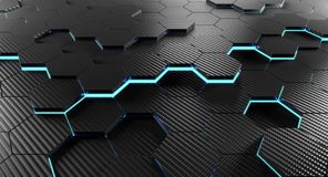 3d carbon background. Carbon fiber 3d rendering of hexagon geometric background Stock Photography