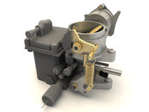 3d carburetor. 3d  render of a carburetor with wireframe Stock Image