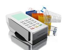 3d Card reader with shopping cart and bags. 3d renderer image. Credit card and card reader with shopping cart and bags. Shopping concept. Isolated white Stock Photos
