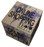 3D Cardboard box with Online shopping stamps theme Royalty Free Stock Images
