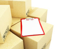 3d Cardboard boxes with chek list Stock Photo