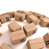3d Cardboard boxes on curved surface. 3d render of cardboard boxes on a curved white surface Stock Images