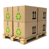 3d Cardboard boxes on pallet. 3d render of cardboard boxes stacked on wooden pallet Royalty Free Stock Photos