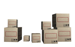 3D Cardboard boxes Stock Photo