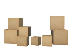 3D Cardboard boxes. 3D square Cardboard boxes illustration Royalty Free Stock Photos