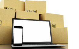3d Cardboard boxes and technology devices with blank screen. 3d illustration. Cardboard boxes and technology devices with blank screen. E-commerce, online Royalty Free Stock Image