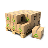 3d Cardboard boxes on wooden pallet Stock Photos