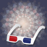3d cardboard glasses for watching movies on 3d background. For design Royalty Free Stock Photo
