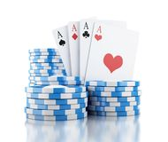 3d cards and chips. Gambling concept. 3d renderer illustration. Cards and chips. Casino concept, isolated white background royalty free illustration