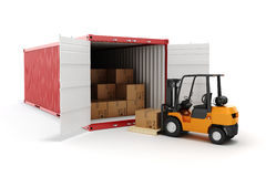 3d cargo container and boxes. Industry transport concept Stock Photo
