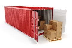 3d cargo container and boxes. Industry transport concept Stock Photos
