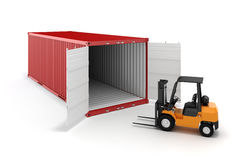 3d cargo container and boxes Stock Photo