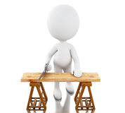 3D Carpenter cutting wood with handsaw. Stock Images