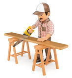 3D Carpenter cutting a wooden board with a saw Royalty Free Stock Photo