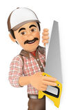 3D Carpenter with saw pointing aside. Blank space Stock Image