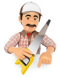 3D Carpenter with saw pointing down. Blank space Stock Photo