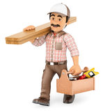 3D Carpenter walking with wooden board and toolbox Stock Image