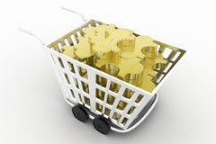 3d cart full of puzzles Stock Photo