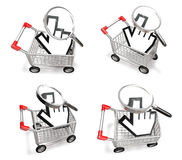 3D cart with hand cursor icon. 3D Icon Design Series. Stock Photos