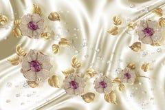 3D carta da parati, fiori dei gioielli su fondo di seta Fondo di celebrazione 3d illustrazione di stock