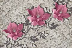 3d carta da parati, fiori della magnolia sulla parete ruvida del gesso illustrazione di stock