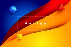 3D carta surreale Art Fluid Color e mondo minimo di web Fotografia Stock