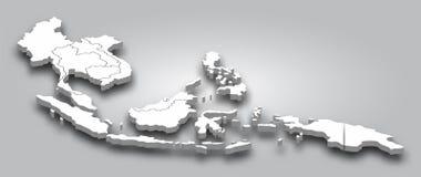 3D carte Asie du Sud-Est avec la vue de perspective sur le fond gris de gradient de couleur Vecteur images stock