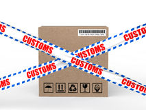 3d carton box with customs control ribbons Stock Image