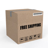 3d carton box with free shipping text Stock Images
