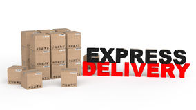 3d carton boxes with express delivery text Royalty Free Stock Photo