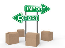 3d carton boxes and import export sign boards Royalty Free Stock Images