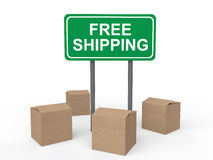 3d cartons and free shipping billboard. 3d render of cartons and free shipping billboard Stock Image