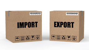 3d cartons with import export text Stock Photo