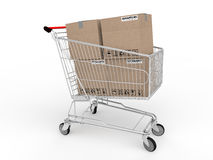 3d cartons in shopping trolley Stock Images