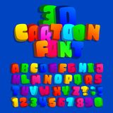 3d cartoon alphabet font. Kids funny colorful letters, numbers and symbols. royalty free illustration