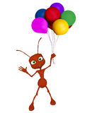 3d cartoon ant with baloons Royalty Free Stock Photos