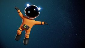 3d cartoon astronaut character with orange space suit presenting an empty space lit by the Sun and the stars of the galaxy 3d ren. Space adventure of an adorable Stock Photography