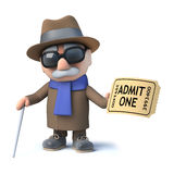 3d Cartoon blind man character has a ticket of admission to the show Stock Photo