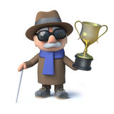 3d Cartoon blind man holding a winners gold cup trophy triumphantly Royalty Free Stock Photography