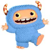 3d cartoon blue monster Royalty Free Stock Photography