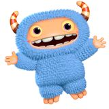 3d cartoon blue monster Royalty Free Stock Photo