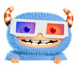 3d cartoon blue monster Royalty Free Stock Images