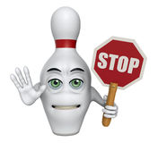 3D cartoon bowling pin holding a stop sign. Cartoon illustration of a bowling pin with his arm out and holding a stop sign Stock Photography